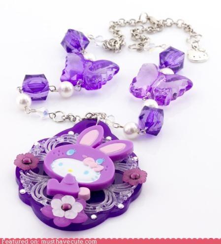 accessories,beads,hello kitty,Jewelry,necklace,purple