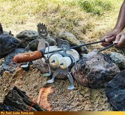 campfire,hot dog,marshmallows,naughty,skewers,stakes