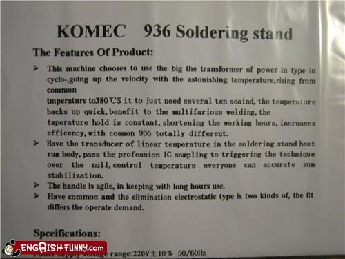 engrish instructions solder WoW