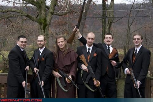 funny wedding photos Groomsmen guns wizard