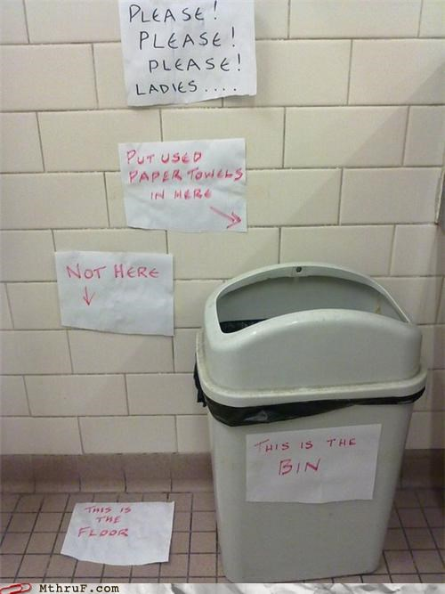 bathroom,floor,ladies,paper towels,signs,trash