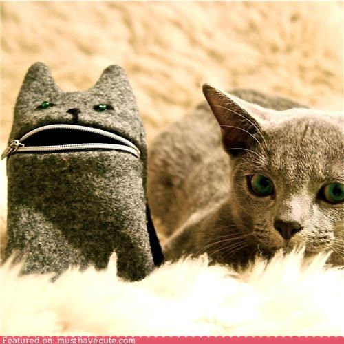 camera case cat grey mouth phone pouch wool zipper - 4610778880