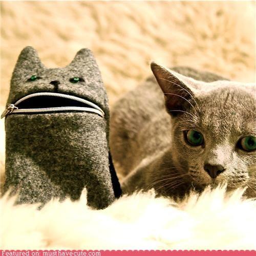 camera case cat grey mouth phone pouch wool zipper - 4610778880