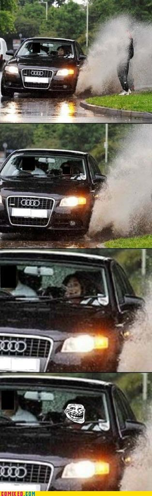 audi,car,puddle,splash,trolls