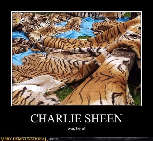 Charlie Sheen,fur,rug,tiger,wtf