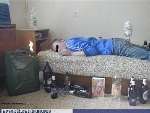 bed,beer,drunk,fire,gasoline,passed out