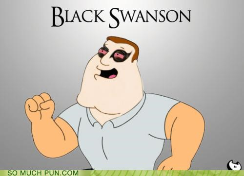 black swan,family guy,joe swanson,makeup,prefix,quote,swan
