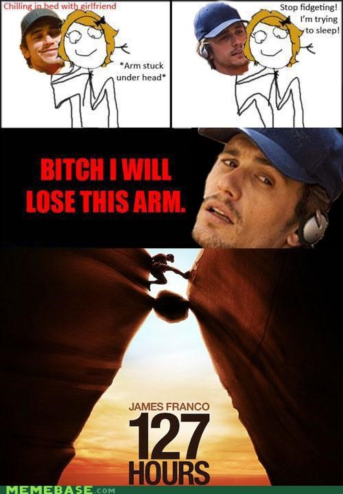 127 Hours arm asleep cudling James Franco pins and needles - 4612337152