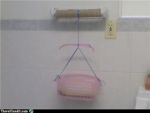 basket,bathroom,dual use,paper towel,unnecessary,wtf