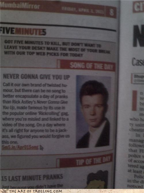 IRL news paper rickroll Songs