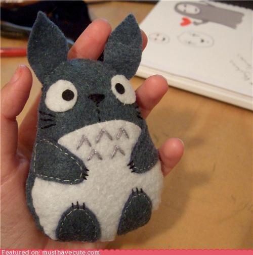 felt grey handmade Plush totoro - 4613735936