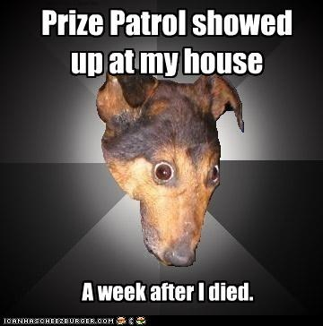 Depression Dog: For the WIN! Prize Patrol showed up at my house A week after I died.