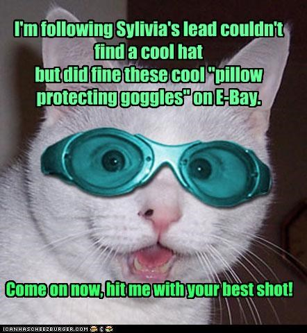 "I'm following Sylivia's lead couldn't find a cool hat but did fine these cool ""pillow protecting goggles"" on E-Bay. Come on now, hit me with your best shot!"