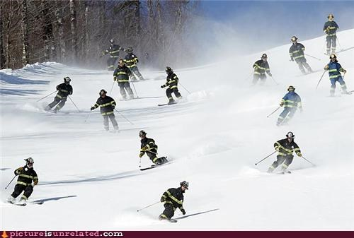 firemen fun skiing sports winter