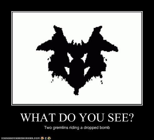 WHAT DO YOU SEE? Two gremlins riding a dropped bomb