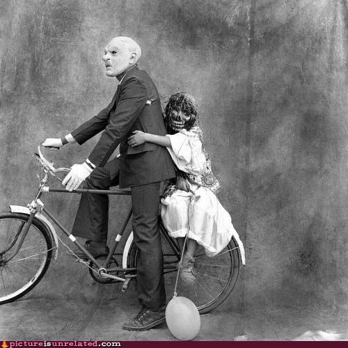 bicycle,masks,old timey,wtf