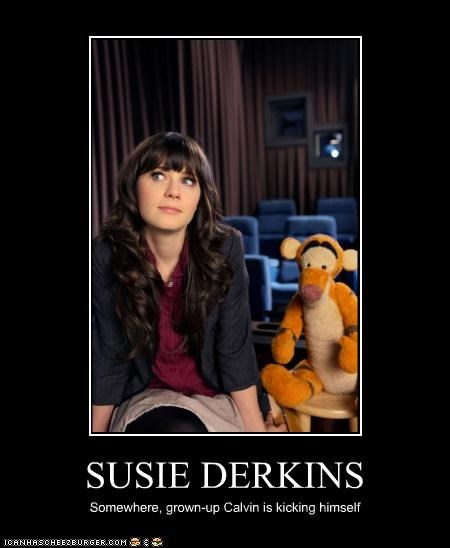 actor,calvin and hobbes,celeb,demotivational,funny,zooey deschanel