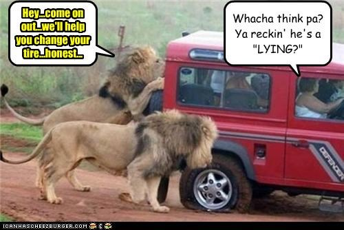 "Hey...come on out...we'll help you change your tire...honest... Whacha think pa? Ya reckin' he's a ""LYING?"""