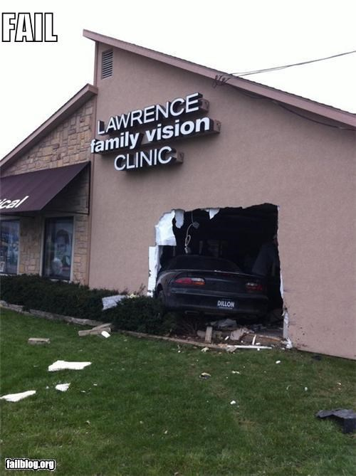 crashed,driving,eye test,failboat,g rated,irony