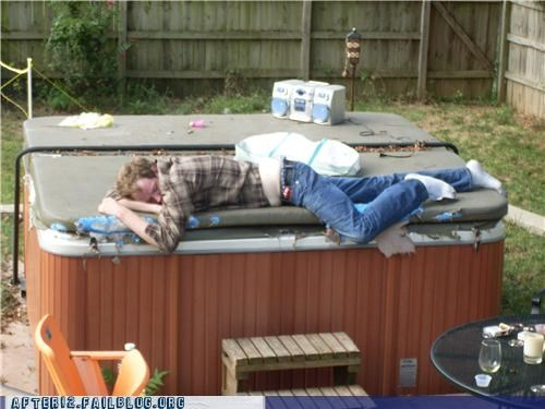 drunk,hot tub,outdoors,passed out,sleep