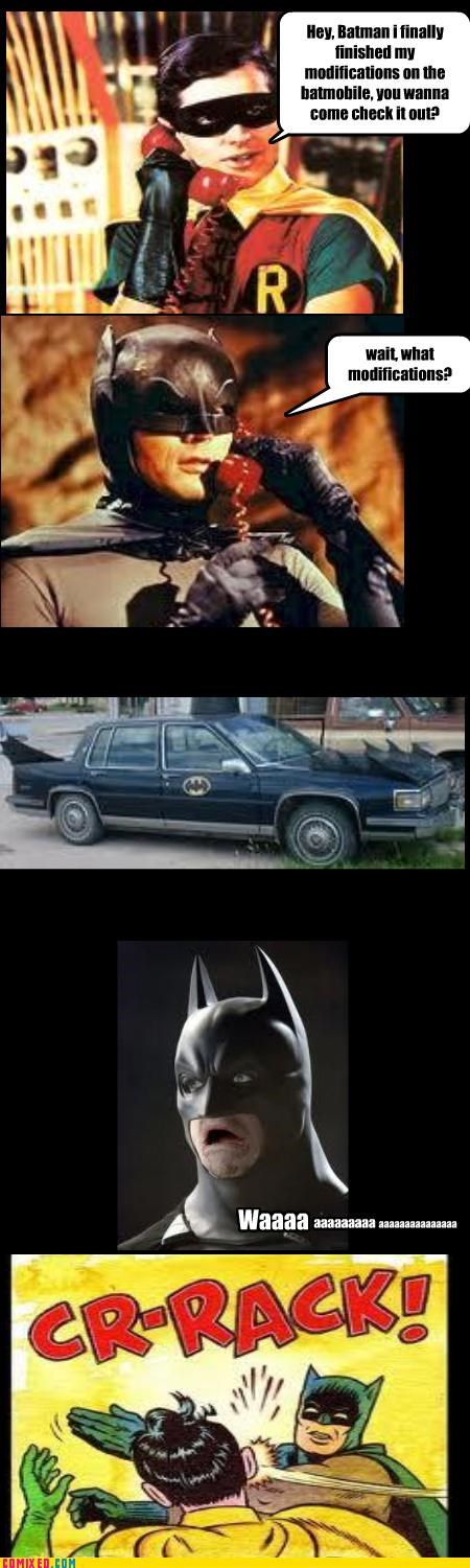 bad idea,batman,batmobile,robin