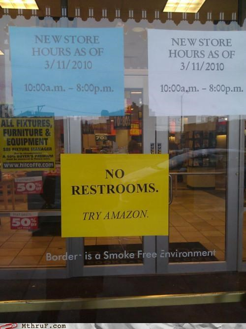 amazon,books,borders,passive aggressive,restrooms