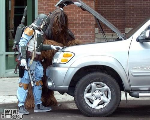 boba fett,chewbacca,costume,nerdgasm,star wars,teamwork