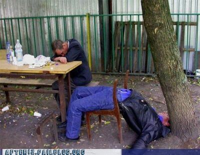 chair drunk outdoors passed out table