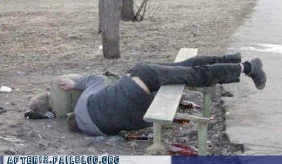 bench,drunk,ouch,outdoors,passed out