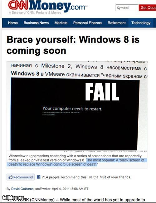 "Windows 8: Black Screen of Fail! Now we can all look forward to Windows most popular feature: A new ""Black Screen of Death!"""