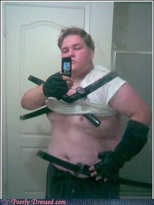 cosplay,fat,mirror,sword,weird,wtf