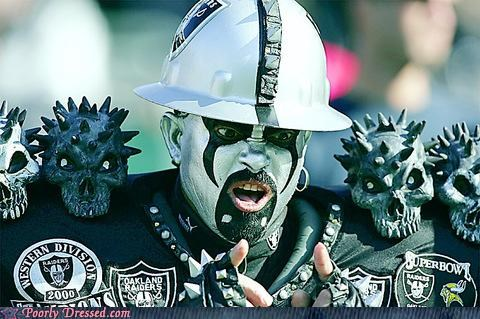 awesome,face paint,fan,outfit,raiders,scary