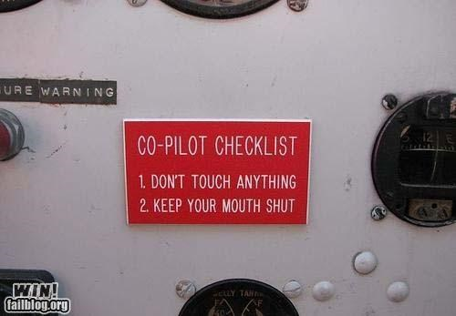 check list,clever,co-pilots,pilots,signs