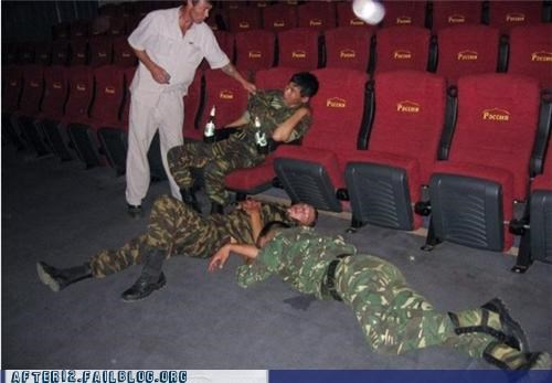 army,drunk,military,Movie,passed out,soldiers,theater