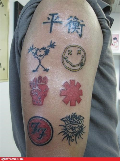 logos tattoos 90s bands funny
