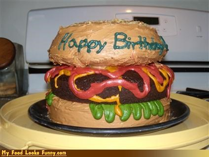 birthday,burger,cake,frosting,sandwich