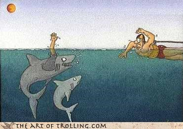 comic,man eating,sharks,swimmer