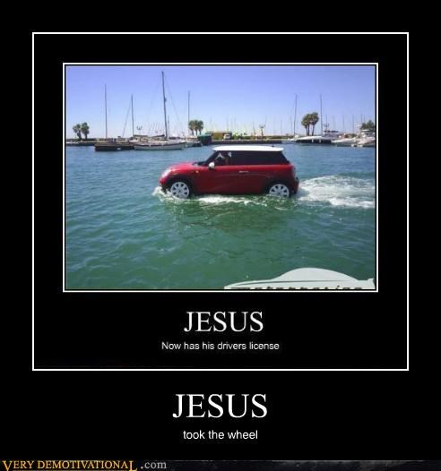 jesus,mini,on water,wheel