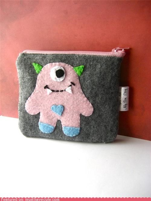 cyclops,felt,grey,horns,monster,pink,pouch,wallet,zipper