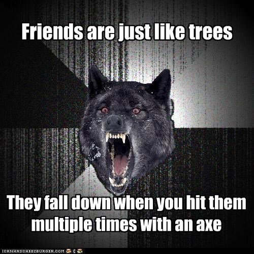 analogies friends Insanity Wolf trees