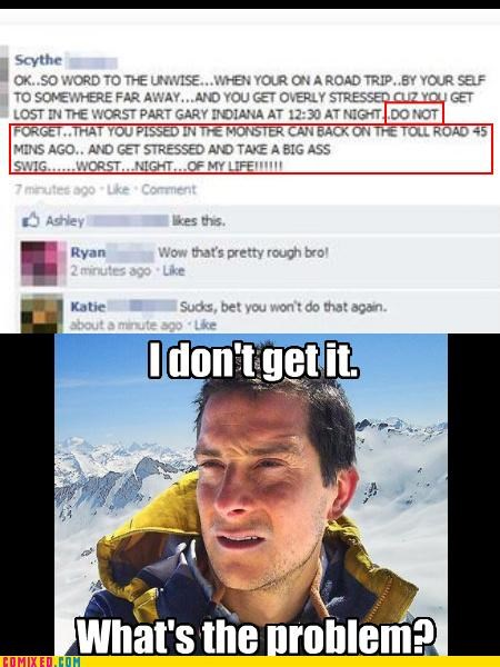 bear grylls,car,facebook,pee drinking