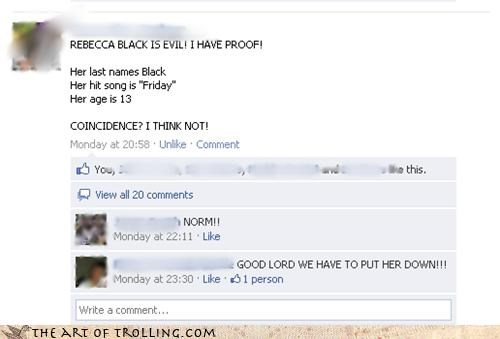 Death,facebook,FRIDAY,proof,Rebecca Black