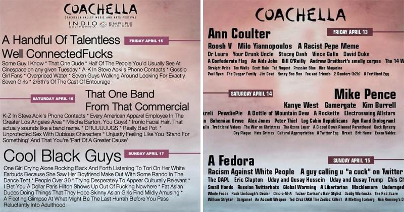 Funny Coachella poster parodies.