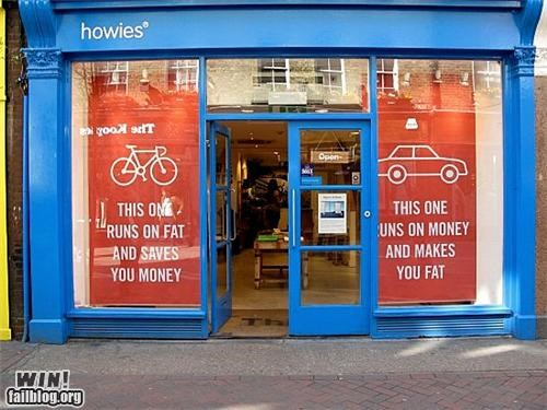ads,bicycles,cars,clever,health,modes of transportation,signs