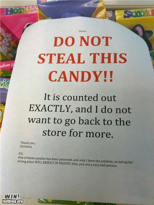 awesome at work,candy,notes,poison,theft