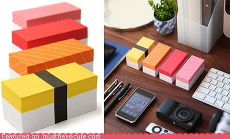 desk post its stationary sticky notes sushi