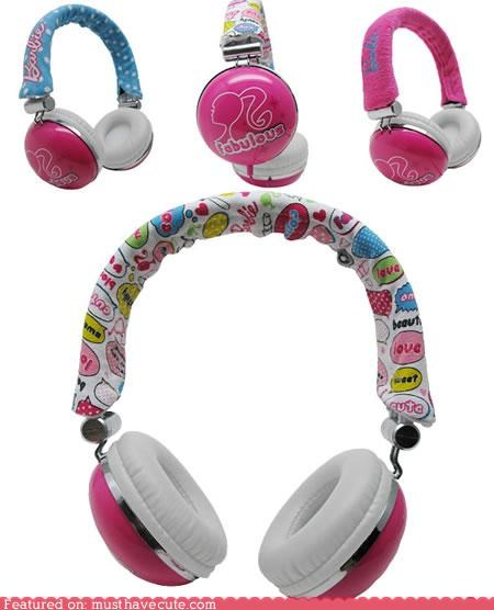 Barbie,girly,headphones,pink