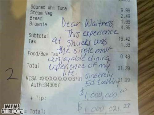 awesome at work million money tip waitress - 4628379904