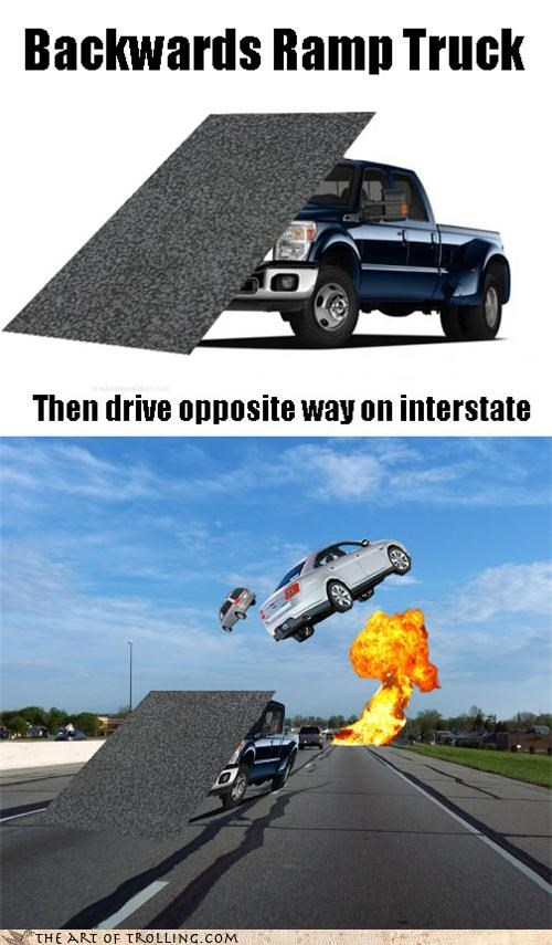 cars interstate ramps trucks - 4628589568