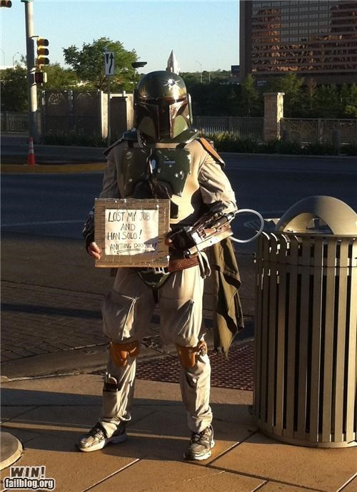 boba fett,homeless sign,nerdgasm,star wars